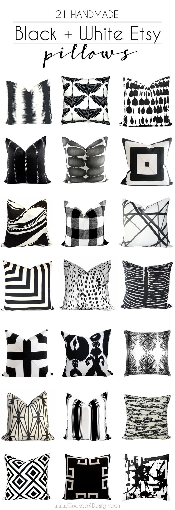 21 beautiful handmade black and white pillow covers from Etsy with designer fabric and regular fabric via @jakonya