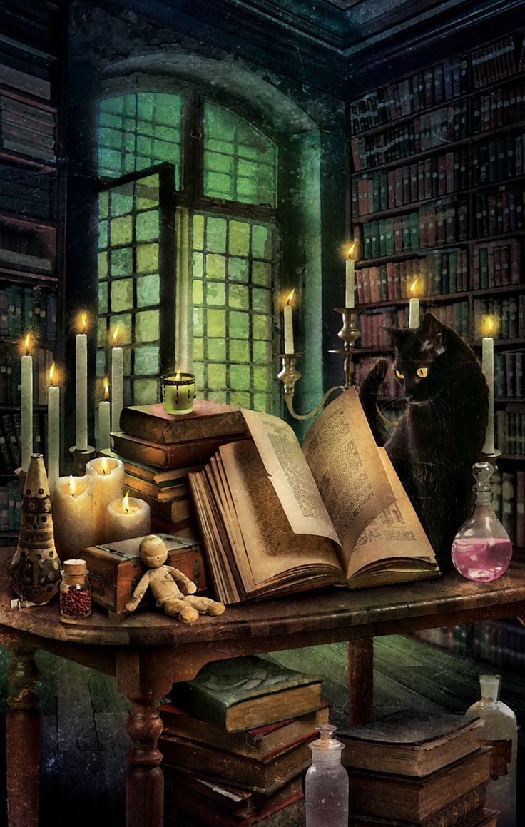 Black cat familiar guarding a witch's book of spells, candles and voodoo doll.