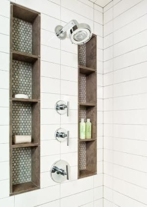 Tall shower niches. Blue, brown, and subway tile. by hilary by hilary