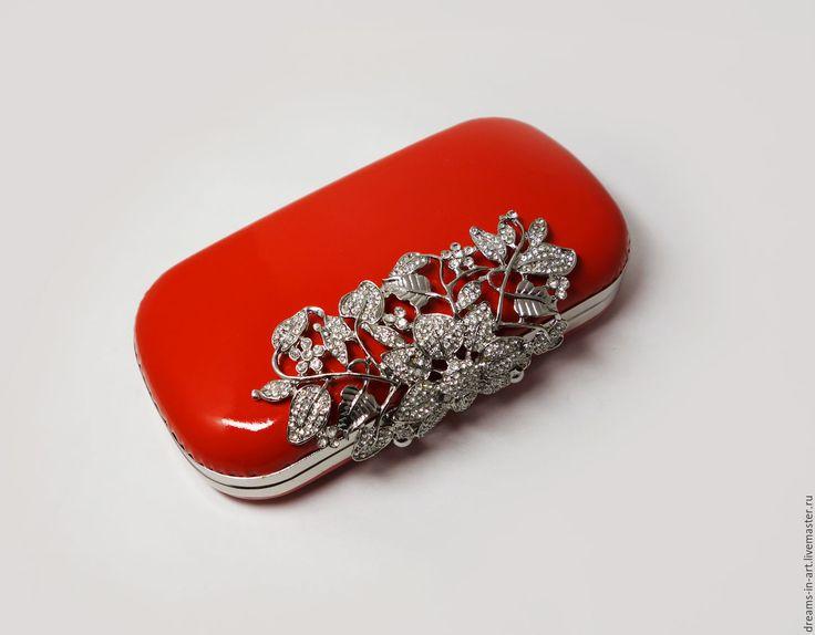 Купить Кожаный летний клатч-бокс ярко-красный - ярко-красный, подарок, лучшый подарок