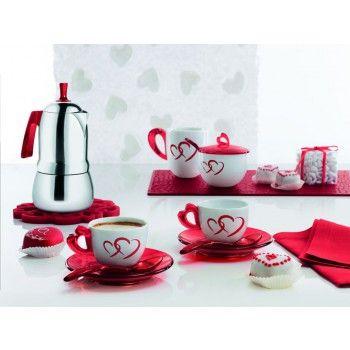 Komplet kawowy love z motywem serca marki Guzzini  - Decorto