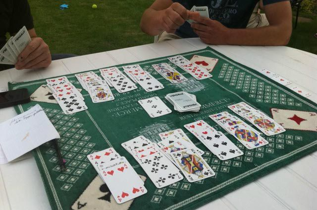 The complete rules for the card game Canasta, part of the Rummy family. This game is for four players, and each player keeps separte melds of cards.