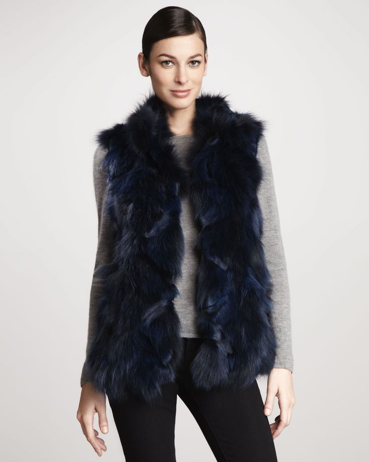 Roadie Sectioned Fox Fur Vest - Neiman Marcus