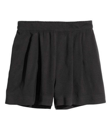 H&M Wide-Cut Shorts $10 : Short viscose shorts with pleats at top, elastication at back of waist, and side pockets.