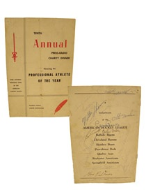 Tenth Annual Press-Radio Charity Dinner Program Honoring the Professional Athlete of the Year (Signed). Monroe County Cancer Association 1959. Charity Dinner program signed by: Rev. Eugene Mcfarland, Ben Schwartzwalder, Bronco Hervath, Richie Ashborn, Allie Reynolds, Walter Shannon, Gen. Melvin Krulewitch, Joe Garugioia, Ingemar Johansson, Bob Keegan, Otto Graham, Carmen Basilio, Don Holleder, Don Dunphy, Tom Decker, Jackie Farrell, Gene Fullmer, Phil Rizzuto, Bob Turley & Arthur Daley. $150