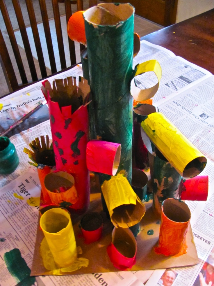 Recycled paper tube sculptures early childhood education