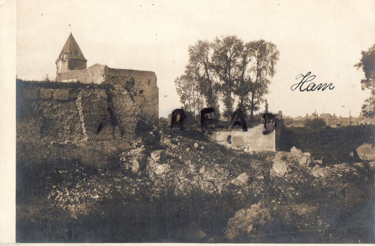 WWI, shell damaged ruinsat Ham nr St Quentin, Somme France. In the foreground would appear to be a trench or foxhole.