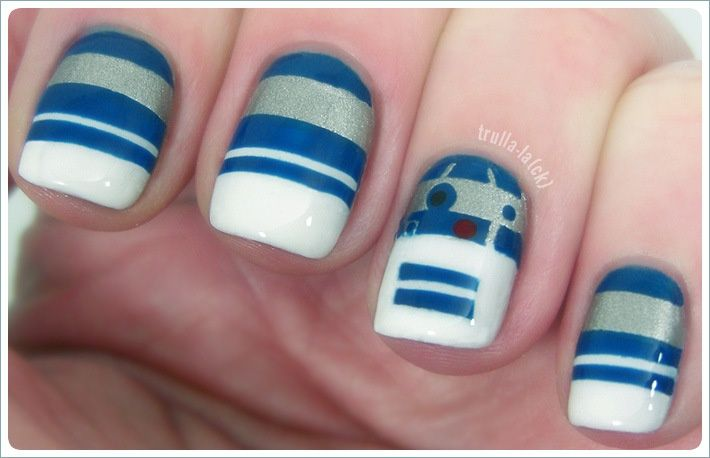 The Force Awakens With These Incredible Pieces of Star Wars Nail Art. #6 R2-D2 Nails
