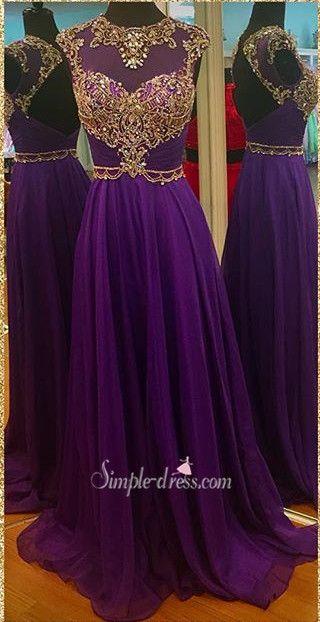 2016 long purple prom dresses, beaded backless prom dress, purple chiffon prom dress