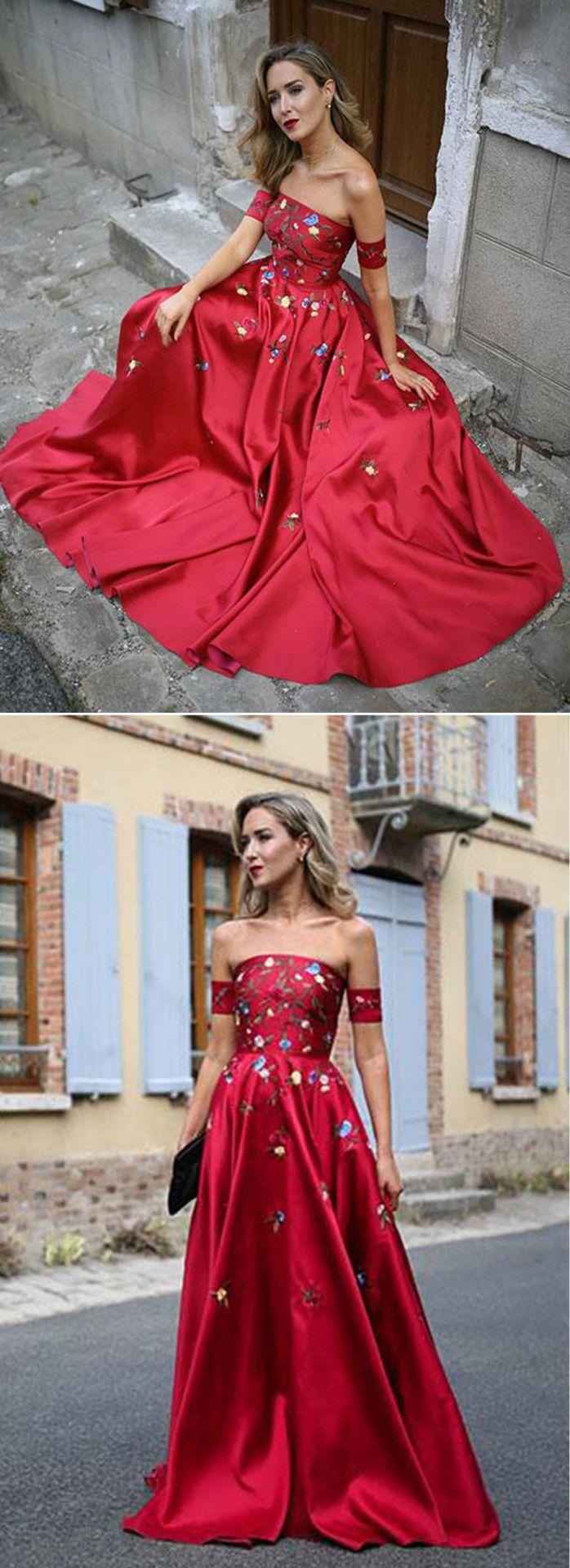 Elegant beaded red satin off shoulder dress Shop here