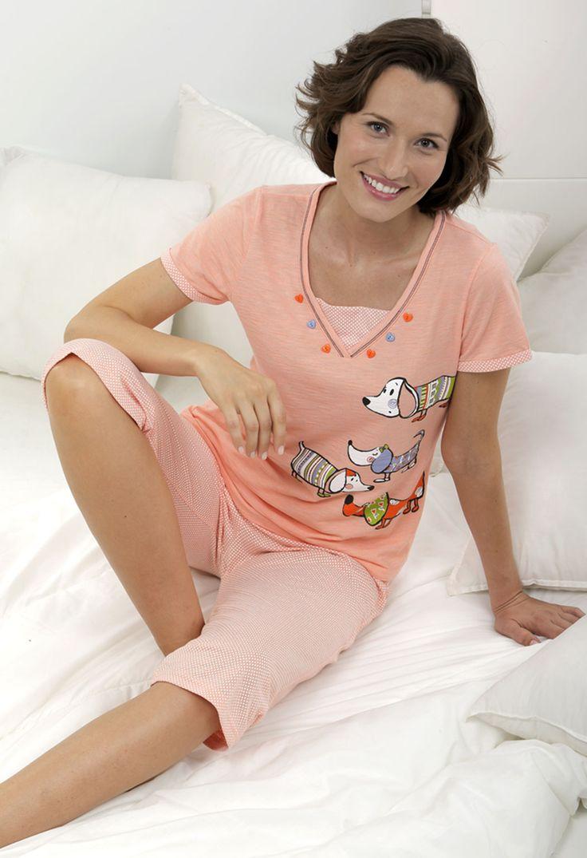 Pijama 2 piezas. Pantalón pirata estampado 'puntitos'. Camiseta lisa con dibujo 'perritos salchicha', #massana #pijama #women