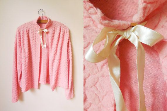 vintage 60s/70s pink bed jacket with bow by starseedvintage