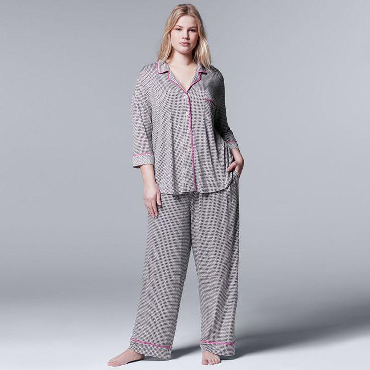Plus Size Simply Vera Vera Wang Pajamas: Evening Oasis Top & Pants PJ Set, Grey Other