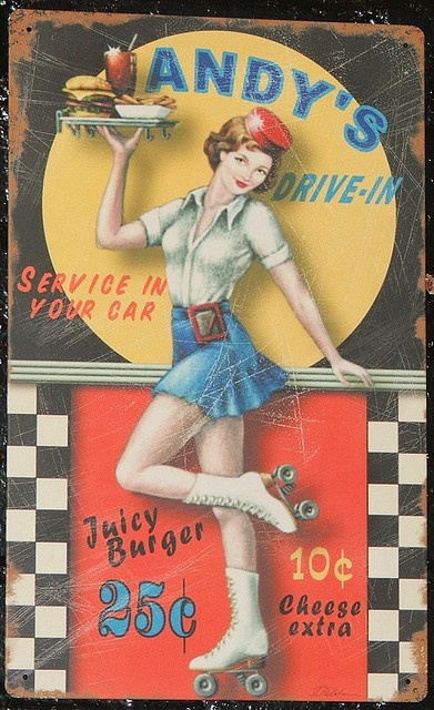 silver wholesale Andy  39 s Drive in Roller Girl Advertising Tin Art by kocojim  via Flickr