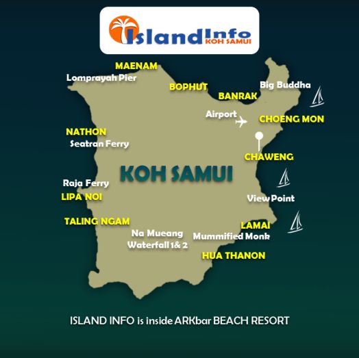 Samui Map by Island Info Samui.  Tours, Full Moon Party and info @ http://islandinfokohsamui.com/