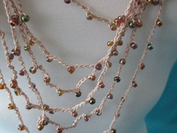 BEADED CROCHET NECKLACE  Coffee Mix Beads by QuackyQuilts on Etsy