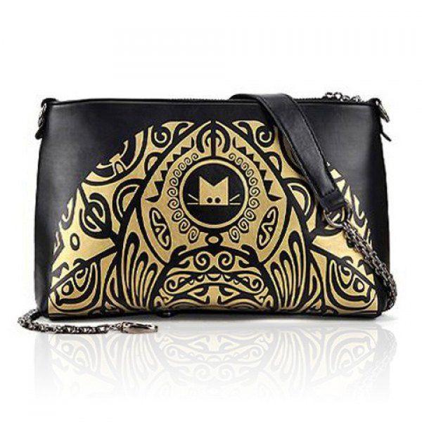 Vintage Style Color Matching and Floral Print Design Women's Shoulder Bag, BLACK in Shoulder Bags | DressLily.com
