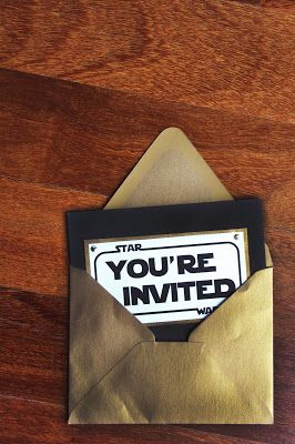 Star Wars Party Invitation. This would be VERY easy to make using your paper cutter and your computer! You could even make the envelope using your brown kraft wrapping paper & a glue stick.