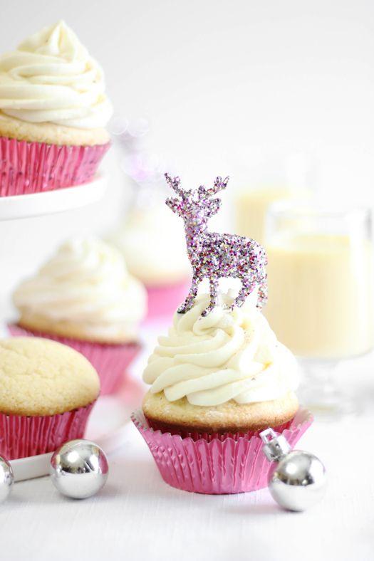 Sparkling Spiked Eggnog Ganache Cupcakes