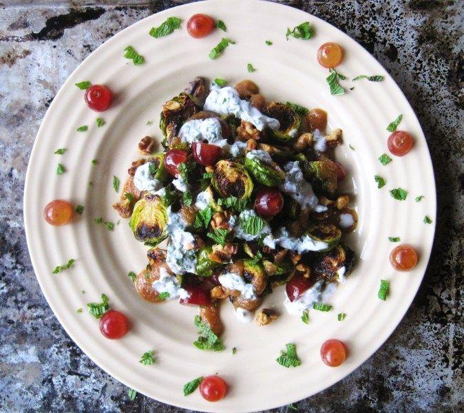 Brussel Sprouts with Grapes, Fig Jam, & Coconut Mint Yogurt (paleo, AIP, vegan)   – autoimmune paleo