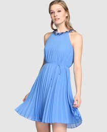 Vestido plisado de mujer Fiesta El Corte Inglés en color azul