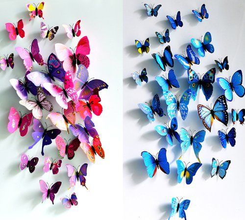 部屋に蝶々飛んでる! 超かわいい 大きな 壁紙 立体 3D  ウォールステッカー 24匹 ピンク&青  【マイホット】 ノーブランド品 http://www.amazon.co.jp/dp/B00JFRZLCG/ref=cm_sw_r_pi_dp_M2U4vb1NTTC7M
