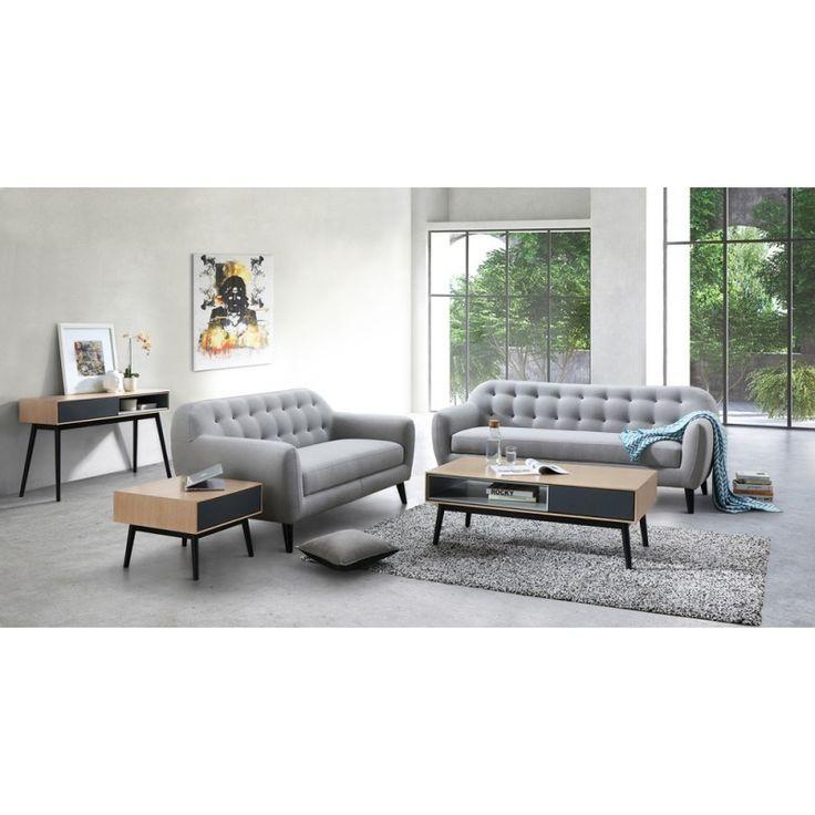 Pratique et cosy, le Canapé droit fixe scandinave 3 places VLADA en tissu (gris clair) fournit une assise confortable.