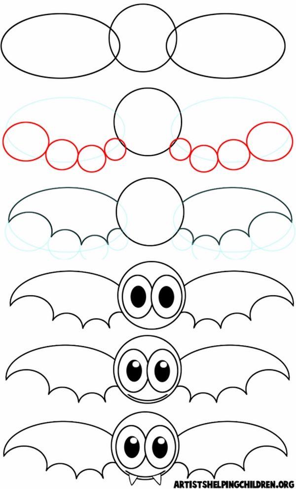 Halloween Drawing Ideas Cartoon Drawing Ideas How To Draw A Bat