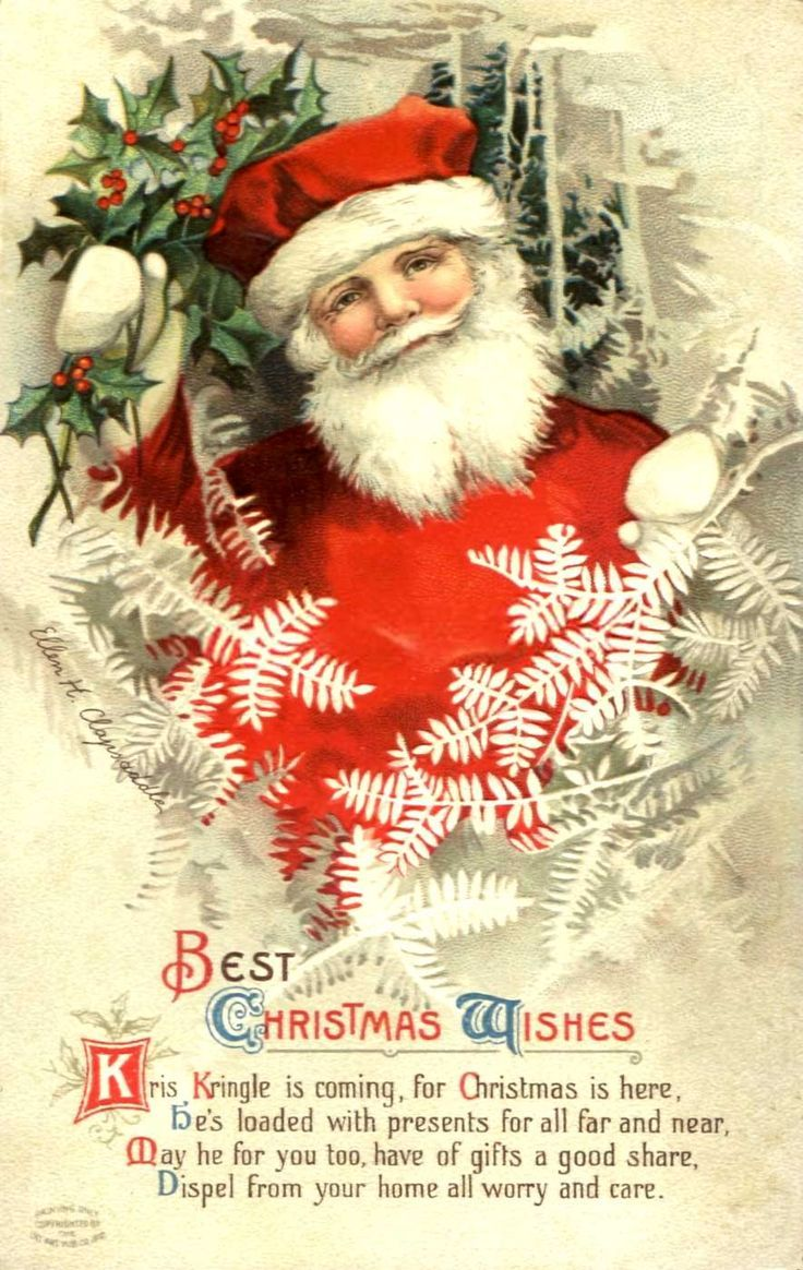 500 best christmas cards iii vintage images on pinterest old divided back postcard best christmas wishes santa claus kristyandbryce Image collections