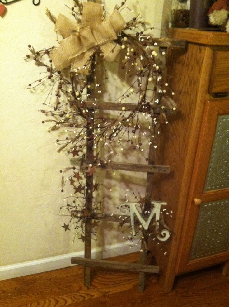 Tobacco stick ladder with berries, bow & Initial <3 it!!