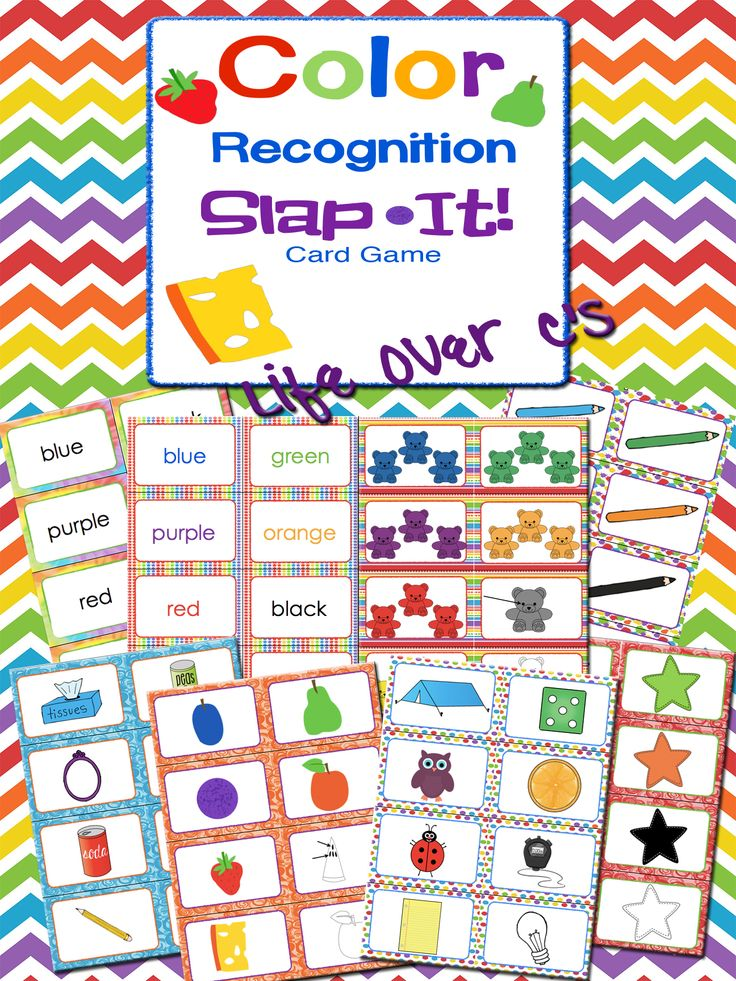 """A fast paced, energetic """"Slap Jack""""-style game for reviewing color correspondence and word recognition. Kids will quickly learn to match the colors to the color words as the engage in some friendly competition to slap the matching card. $ #lifeovercs #education #wordrecognition #colors #preschool #kindergarden #prek #SlapIt"""