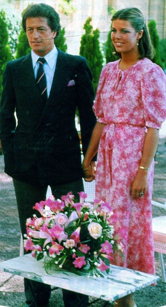 The engagement of Princess Caroline of Monaco and Philippe Junot. August 25,1977.