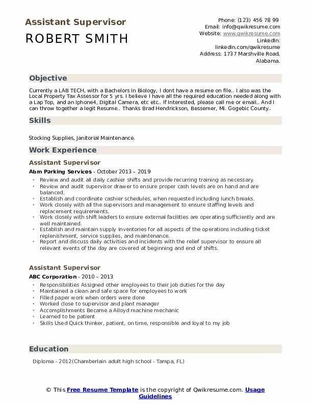 Assistant Supervisor Resume Samples Qwikresume In 2020 Resume Template Resume Resume Design Template