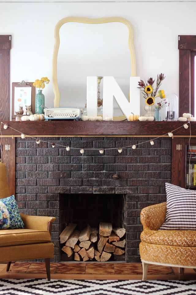 Fall mantle #autumn #mantle #decorations: Mantle Decorations, Fall Decor, Livingroom, Brick, Living Room, Fireplace