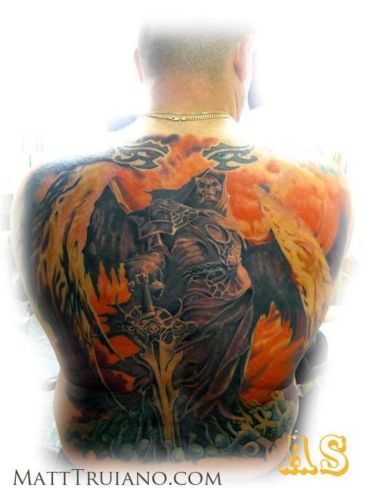 Colourful Big Angel Tattoo On Back