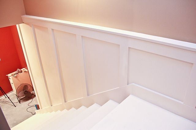 Board and batten idea for basement stairs
