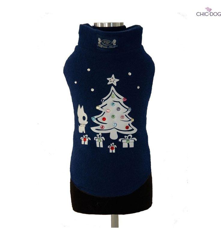 Xmas Tree - Wool #dog sweatshirt decorated with crystals - perfect gift under your Xmas Tree | Felpa per cani in lana decorata con brillanti, perfetta come regalo da mettere sotto l'albero! #Chic4Dog