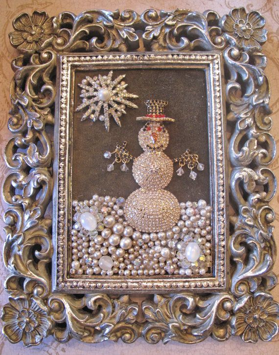 OOAK Vintage Rhinestone Costume Jewelry repurposed Framed Snowman Collage Art via Etsy