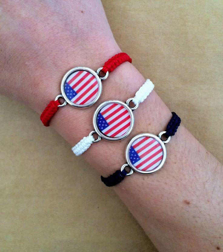 American Flag USA Patriotic Red White and Blue Macrame Friendship Bracelet - 4th of July Bracelet, Flag Bracelet by IzouBijoux on Etsy