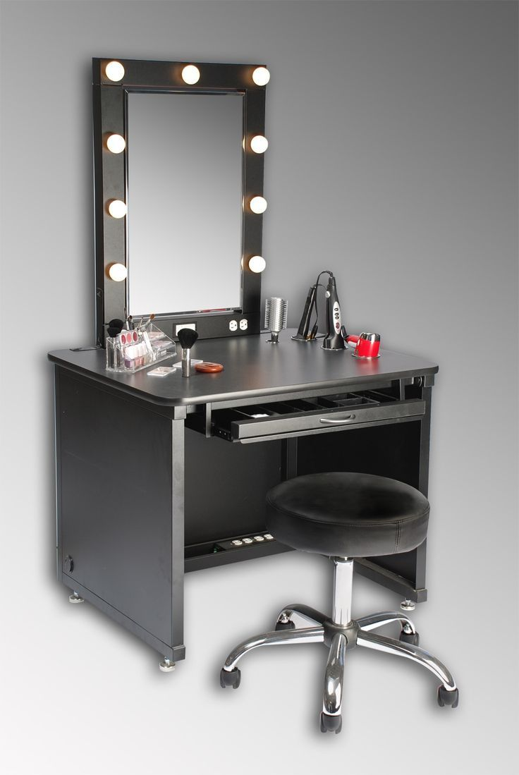 makeup vanity - reminds me a little of those old makeup rooms with the bulbs outlining the mirror, yet it looks like an office! I like this one. ♥