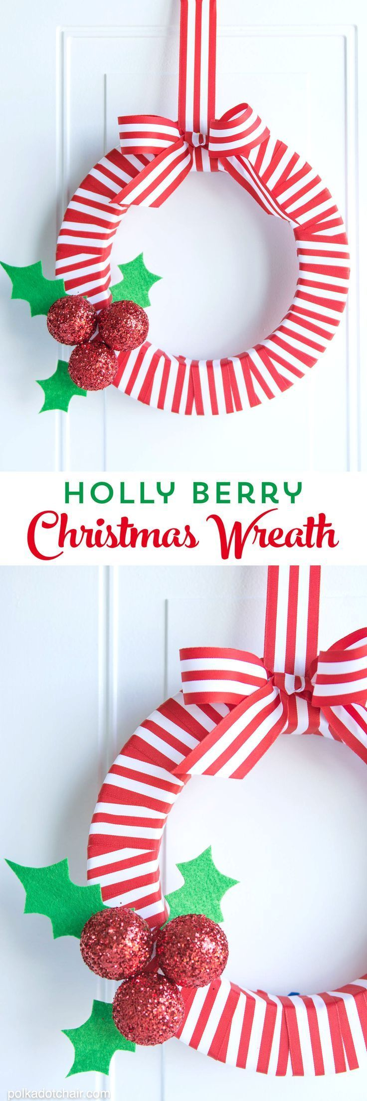 DIY Holly Berry Christmas Wreath made with ribbon, styrofoam balls, felt and glitter #christmas #ChristmasWreath #DIYWreath #christmascrafts