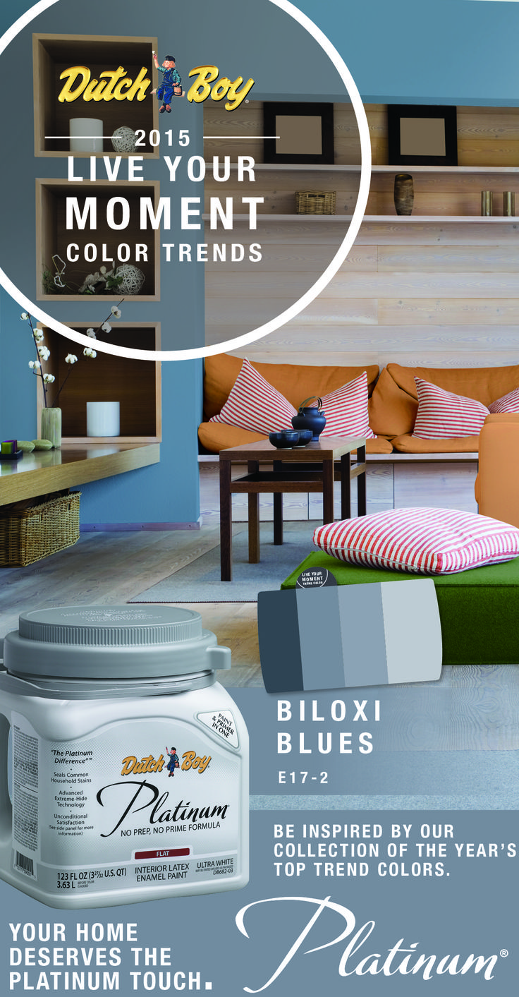 Get inspired with our paint collection of the year's top trend colors! http://www.menards.com/main/find.html?find=Dutch+Boy+Platinum+Paint&utm_source=pinterest&utm_medium=social&utm_campaign=interestinginteriors&utm_content=biloxi-blues&cm_mmc=pinterest-_-social-_-interestinginteriors-_-biloxi-blues