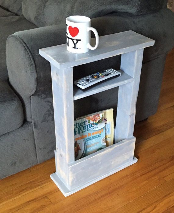 Small Space? No Problem! This skinny end table fits in any space ! -16 Long x 5.5 Wide x 24 Tall -Stained or painted in your color & lightly distressed with a smooth wax finish -Storage for magazines or books   -3.5 wide shelf for decor or remotes   Perfect for dorm decor, apartments, or any small space in your home! ----------------------------  Custom sizes available, Just ask!  Pictured Color: light gray, distressed   **Your item will be shipped USPS Parcel Ground Shipping and arrive…