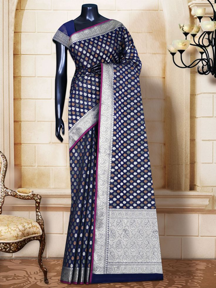 Navy Blue Cotton Patola Self Border & Pallu Banarasi Handloom Saree