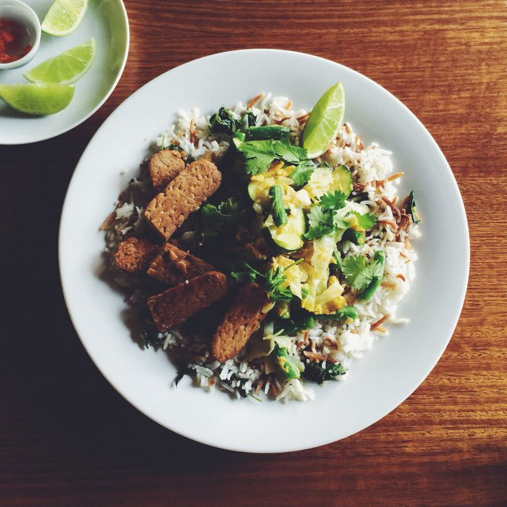 Spiced Coconut Rice with Tempeh. Week 6 #iqs8wp #iqs #iquitsugar #iqsjerf #vegetarian That toasted shredded coconut is so delicious.