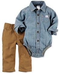 Carter's Baby Boys' 2-Pc. Denim Shirt-Bodysuit & Khaki Pants Set