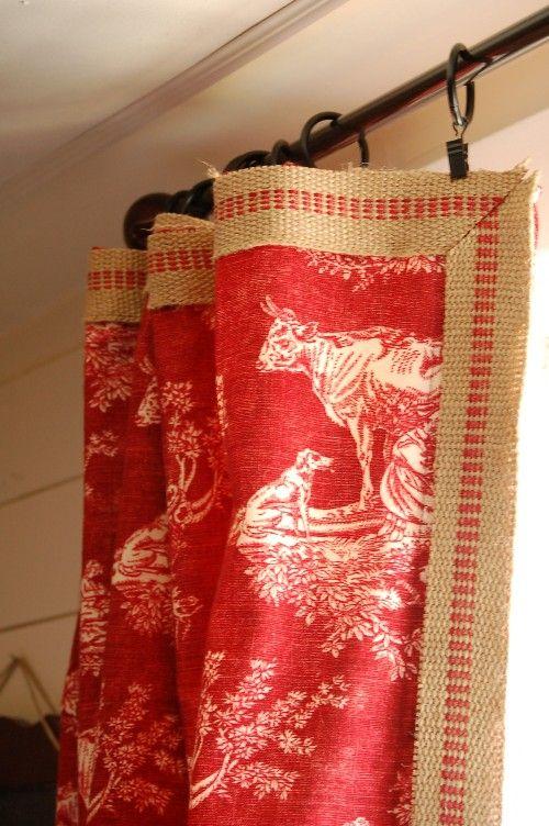 Red cow toile w/burlap trim  Waverly mayheme: Curtains, Decor Ideas, Canvas, Window Treatments, Windows, Burlap Curtain, Eclectic Bedrooms, Seed Interiors