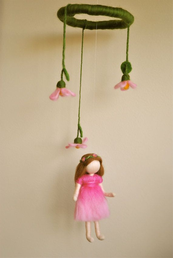 Waldorf inspired needle felted doll mobile Spring by MagicWool