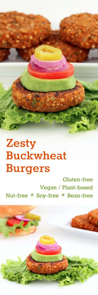 Zesty Buckwheat Burgers with a delicious southwest tang! A gratifying burger alternative, entirely plant-based and free from grains, nuts, beans and soy!