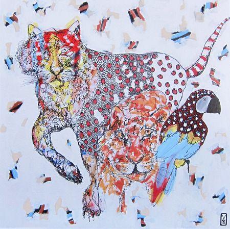 Yosi Messiah  Gazing Tiger - 2014   Mixed Media   91 cm x 91 cm